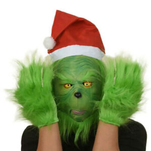 The Grinch Mask Glove Full Head Latex Wig Hat Monster Adult Costume Xmas Gift