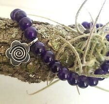 Silver Celtic Flower Daisy Amethyst Purple Gemstone Bead Stretch Bracelet