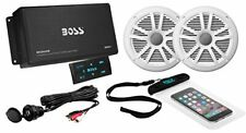 Boat Radio Stereo Boss 500 WATT 4-Channel Bluetooth Amplifier Remote 2 Speakers