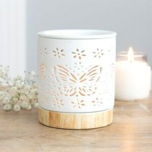 Ceramic Butterfly Oil Burner Matte White Home Fragrance Aromatherapy Wax Warmer