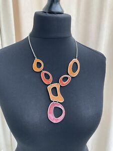Abstract retro asymmetrical enamel gold tone necklace - N031