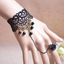 Gothic Victorian Crystal Tassel Tattoo Bracelet Hand Catenary Black Lace Jewelry