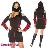 Ladies Ninja Assassin Costume Womens Japanese Deadly Halloween Black Fancy Dress