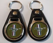 1966 FORD MUSTANG KEYCHAIN 2 PACK GREEN FOB EMBLEM LOGO