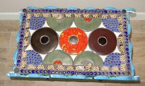 "Mosaic Art Side Table ""Armadillo Love"" by Joan Baron 28"" x 16"" x 23"""