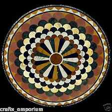 "24"" Black Marble Coffee Table Top Pietra Dura Gemstone Handmade Furniture Decor"
