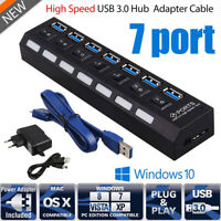 USB 3.0 7 Port Hub Splitter Adapter mit Netzteil Verteiler für PC Laptop Windows