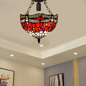 Antique Tiffany Red Dragonfly Design Ceiling Lamp Handcrafted Art Stained Glass