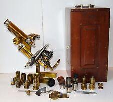 Microscope en bronze vernis - Krauss, Bausch & Lombs - Paris Rochester , USA