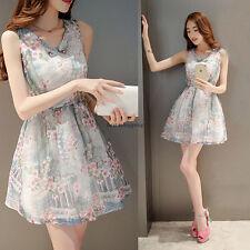 Korean Women Sleeveless V Neck Evening Party Lady Slim Tunic Short Bubble Dress