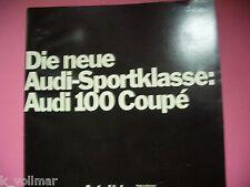 Auto Prospekt Sales Brochure Auto Union Audi Sportklasse Audi 100 Coupe von 1969