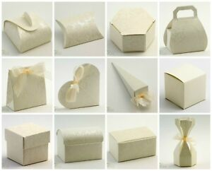 DIAMANTE Ivory Range - DIY Wedding Party Favour Sweet Gift Boxes - Box Only