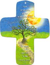 """Premium-Kreuz aus Metall """"Gott ist die Liebe"""" zum Aufhängen"""