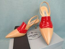 PRADA 1I270L BEIGE RED  PATENT LEATHER POINTED TOE SLINGBACK MULES PUMPS 37 IT