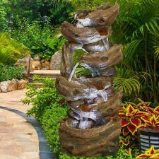 "41.34"" 6-Tier Rock Outdoor Water Fountains Waterfall w/5 Led Lights Garden Yard"