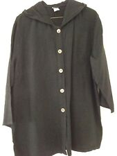 Women's Button Front Black Linen Tunic with Hood