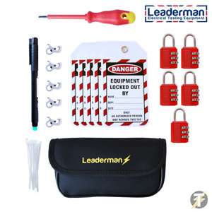 Leaderman 28 Piece Lock Out Off Kit with Metal MCB, Case and Pen LMLOK5R