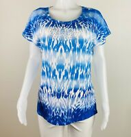 Chicos Women Size 2 Or L Blue White Short Sleeves Blouse Top Shirt