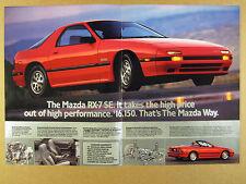 1988 Mazda RX-7 RX7 Turbo SE & Convertible red car color photos vintage print Ad
