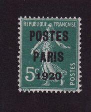 Préoblitéré N°24 5 c semeuse poste Paris 1920 gomme luxe sans charnière