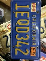 One California license plate.