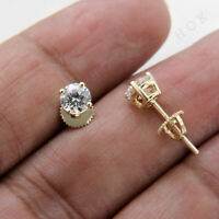 2Ct Round Cut Moissanite Screw Back Solitaire Stud Earrings 14K Yellow Gold Fn