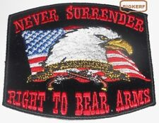 RIGHT TO BEAR ARMS  NEVER SURRENDER  USA  FLAG  EAGLE   2ND  AMMENDEMENT  PATCH