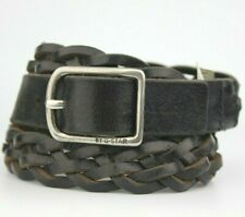 """G-Star Raw Black Braided Woven Real Leather Belt Fits 35""""-38"""" Waist"""