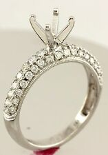 14k white gold 1ct 6.5mm round engagement ring semimount .65ctw diamond band