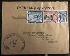 1962 St Kitts & Nevis Airmail OHMS Public Library cover to Leicester England