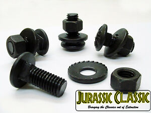 1961-84 Pontiac Black Oxide Bumper Bracket Carriage Bolts Nuts Washers Kit NOS