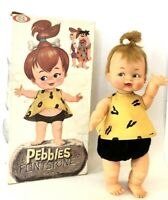 "Flintstones 1962 Tiny PEBBLES Doll 15""  Ideal RARE Vintage HTF With Box EXTRAS"