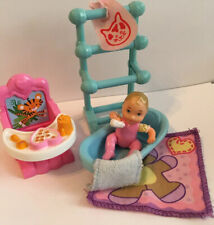Fisher Price Loving Family Doll Baby Chair Pink Girl Bath Towel Bar Bib Rug Lot
