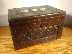 SUBSTANTIAL VICTORIAN CARVED OAK 'COUNTRY HOUSE' POST BOX c1870