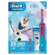 NEW Disney Frozen Oral-B Rechargeable Kids Toothbrush With Crest Olaf Toothpaste