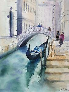 Gondola - veduta di Venezia nr.8 - unico - acquerello originale cm 33 x 24