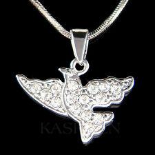 w Swarovski Crystal Peace Dove Pigeon Free Bird Charm Chain Necklace NEW Jewelry