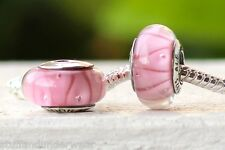 New! Authentic 925 Sterling Silver Core Pink Looking  Murano Glass Bracelet Bead