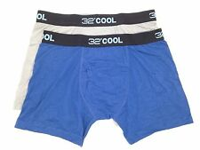 $45 32 DEGREES COOL MEN UNDERWEAR BLUE GRAY MICRO 2-PACK BOXER BRIEFS SIZE S