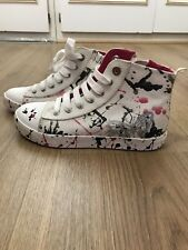 Geox girls white/pink/silver canvas high trainers shoes size 1/12 /34