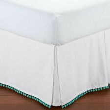 Pottery Barn Teen Pom Pom Bedskirt Full Pool Blue Teal Fringe New with Tags Nwt
