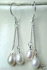 925 Sterling silver 6-7mm Freshwater Cultured White Pearl Dangle Earrings