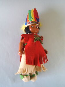 """Mme. Hendren Vintage Composition 10"""" American Indian Character Boy Doll"""