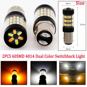 2Pcs Car White/Amber 1157 LED DRL Switchback Turn Signal Parking Light Bulbs