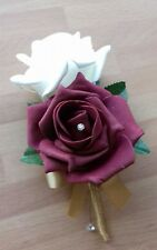 Wedding rose (burgundy/ivory) buttonholes x 1 diamante or pearls gold ribbon bow