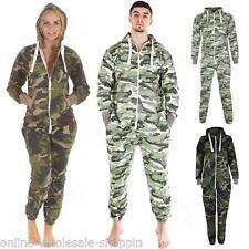 Mens Womens Ladies Camouflage Jumpsuit Nightwear Hooded Playsuit All In One