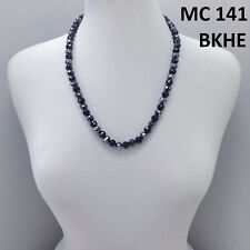 Vintage Style Black Hematite Color Crystal Disco Ball Beaded String Necklace