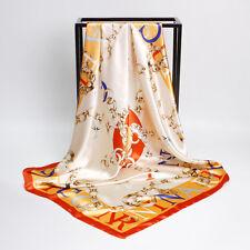 "Women's Fashion Print Silky Square Scarves Soft-Satin Head Shawl Wraps 35""*35"""