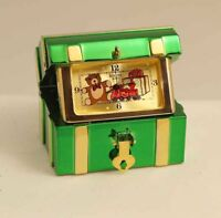 Bulova Miniature Clock Christmas Treasure Chest B0586 Solid Brass Collectible