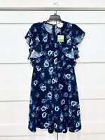 NWT Kate Spade Prairie Rose Floral Dress Blue Roses floral Flutter Sleeves Sz 12